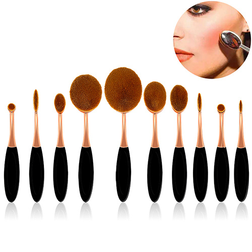 New Arrival 10PC Toothbrush Oval Makeup Brush Set