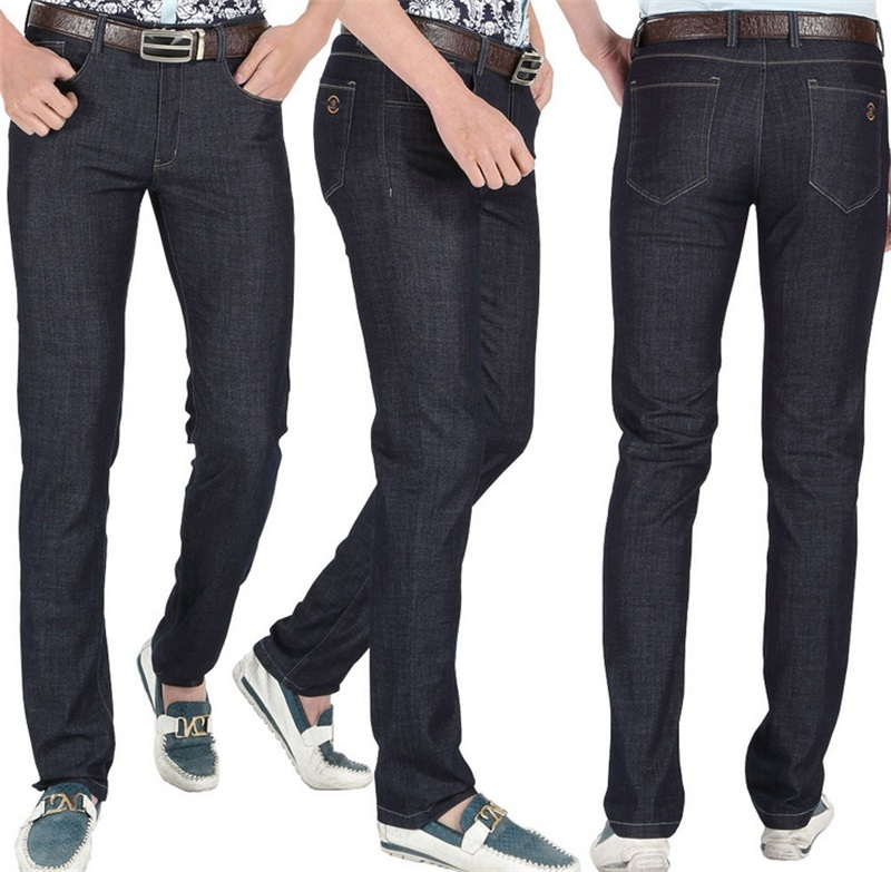 Men′s 2015 Summer Genuine Black Middle Waist Slim Straight Casual Jeans