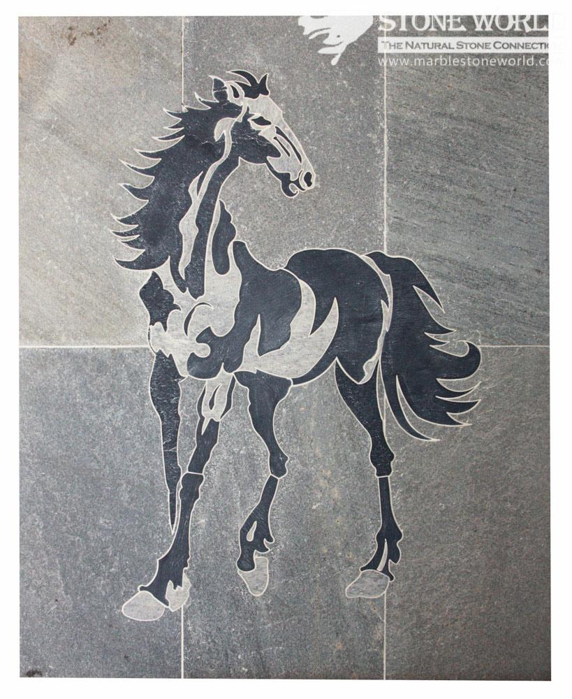 Black & Grey Waterjet Slate Medallion for Flooring/Paving/Lobby Tiles (mm-019)