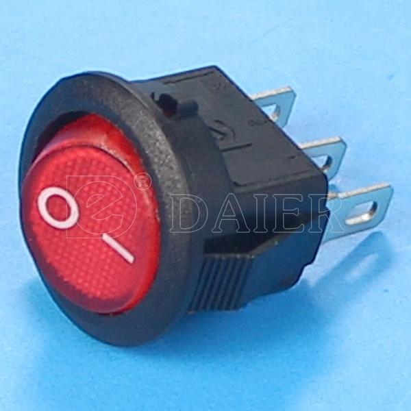 Red Illuminated on off CQC Rocker Switch