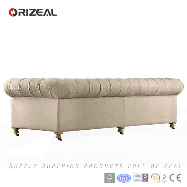 Orizeal Antique French Rococo Chesterfield Fabric Sofa Furniture (OZ-FS-2026)