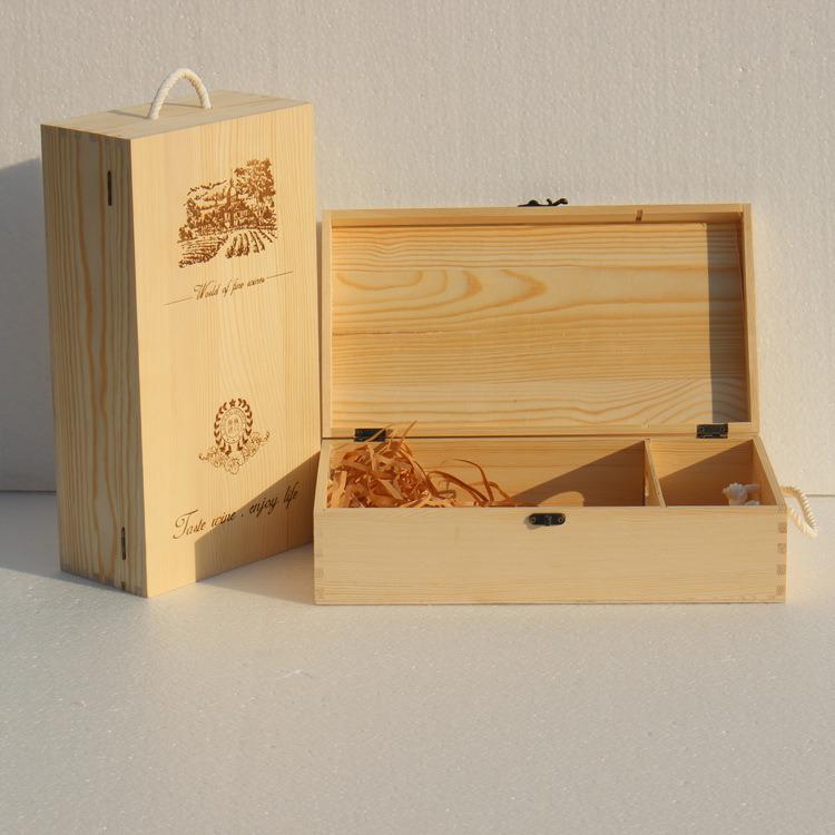 Wholesale Wooden Wine Box Gift Box Wood Double-Vessel Box