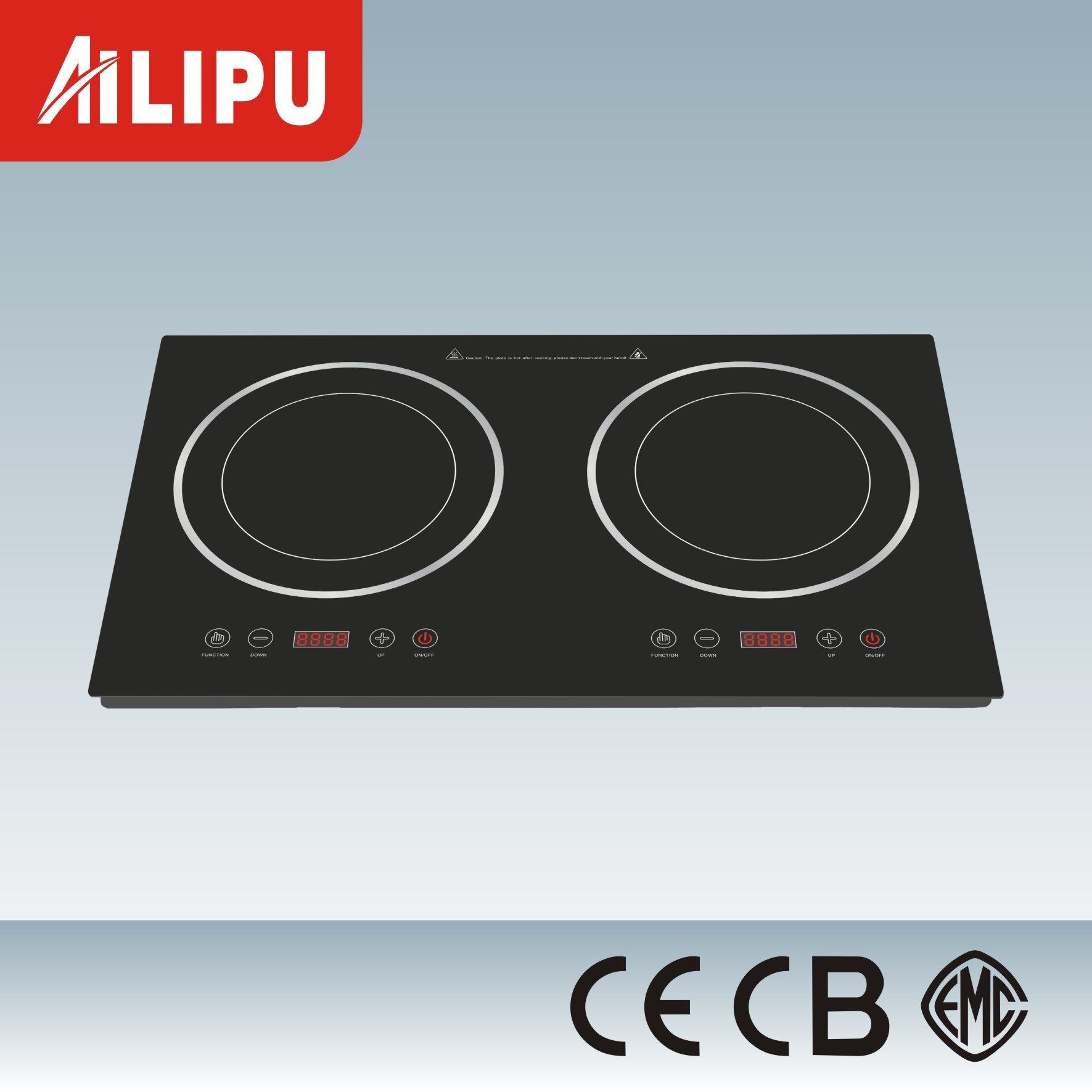 Metal Housing Two Plates in-Built Infrared Cooker/Ceramic Hob with Heater Heating Element