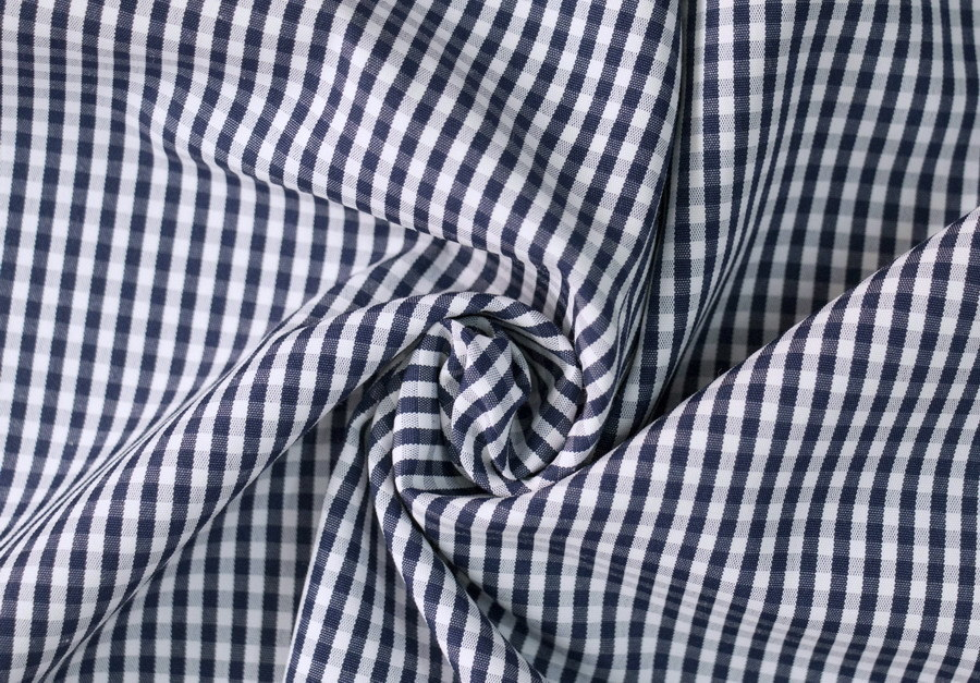 3mm Small Checks Polyester Cotton Yarn Dyed Uniform Shirt Fabric