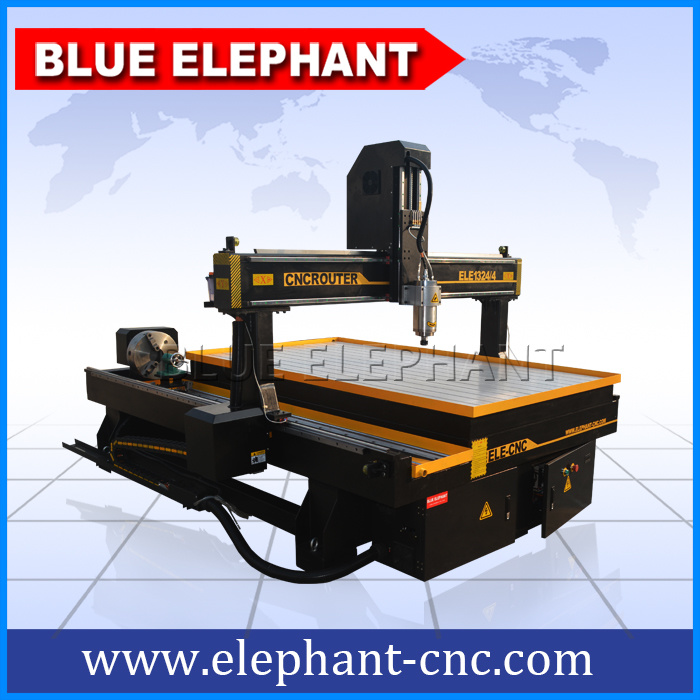 Ele 1324 Chinese Machine 4 Axis 3D Carving CNC Router Machine with Rotary Device for Wood Engraving