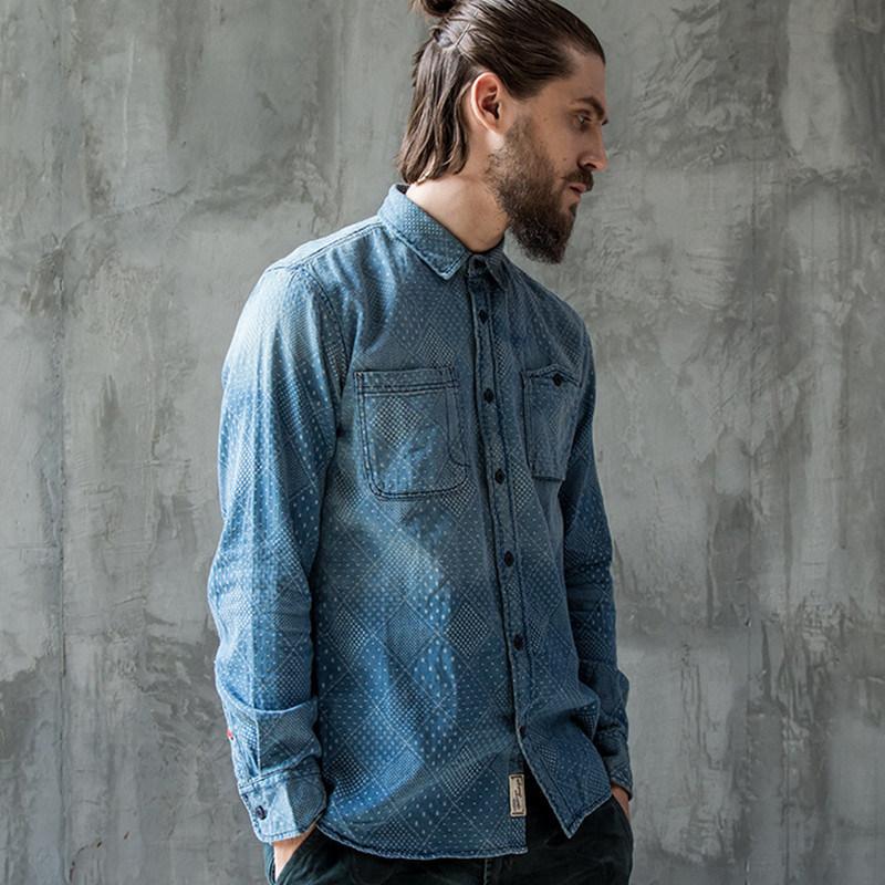 Classic European Spring Autumn Long Sleeves Blue Men′s Jeans Shirt