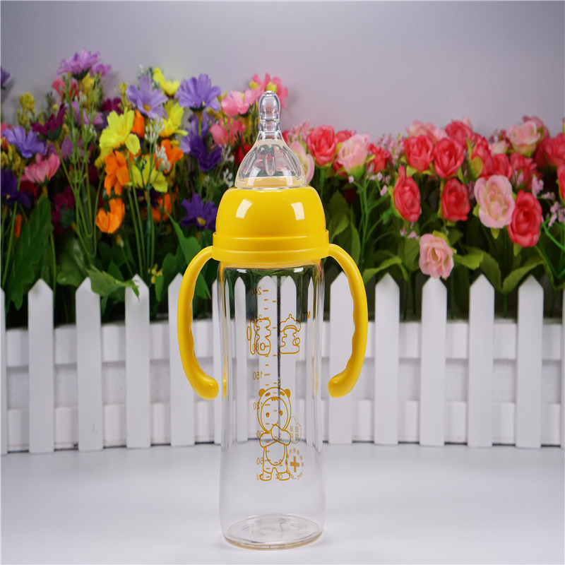 240ml Crystal Diamond Baby Glass Bottle with Handle