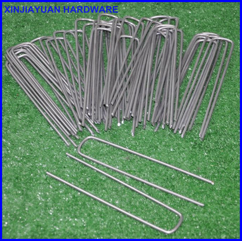 Anti Rust Bright Galvanized U SOD Staples / Fabric Pins Turf Staples