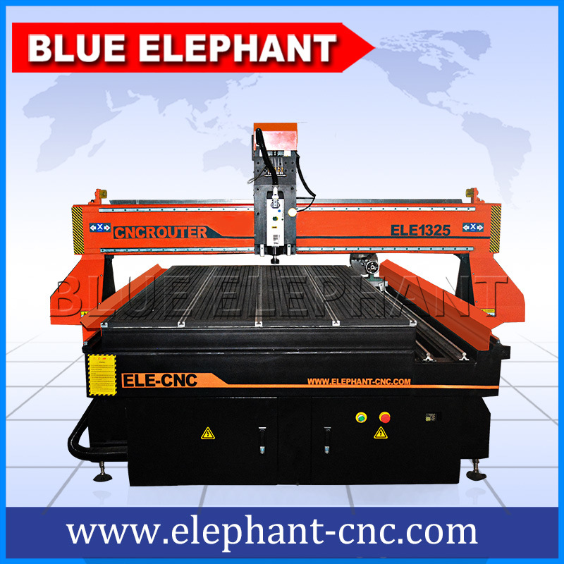 Heavy Duty 1325 CNC Router China Blue Elephant, 3D CNC Wood Router, 4 Axis CNC Wood Engraving Machine