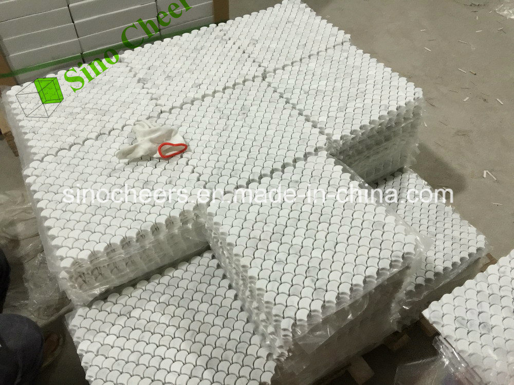 Bianco Carrara C White Stone Marble Fan Shape Tile Floor Wall Mosaic