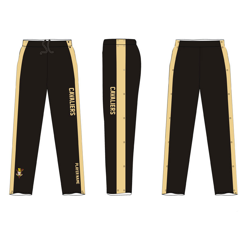 Black Warm up Basketball Pants with Health Fabric 280gms
