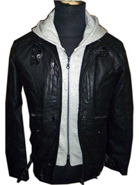 China Men's Washed Leather Jacket With Removable Hoody (HWJ-92