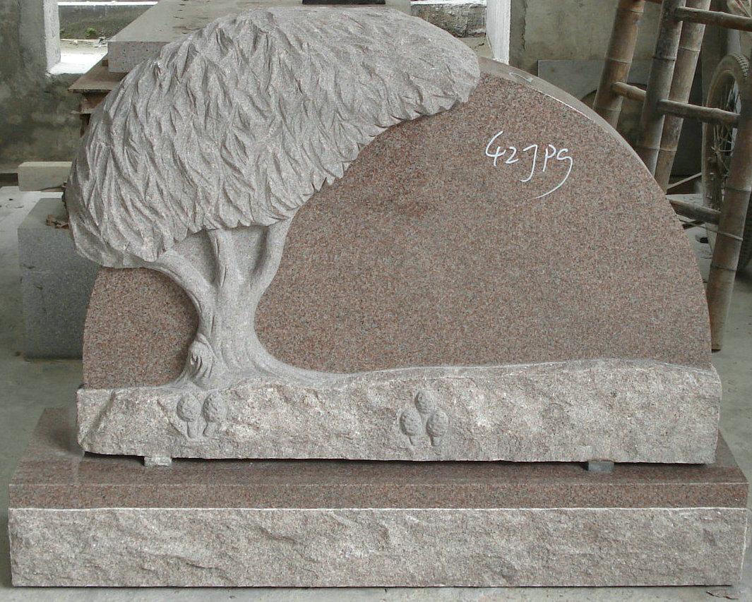 China carving granite tombstone headstone design