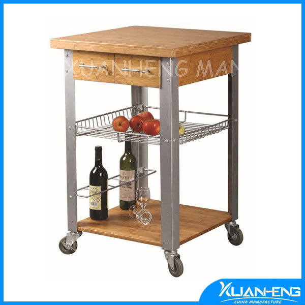 Bamboo Kitchen Trolley with Baskets
