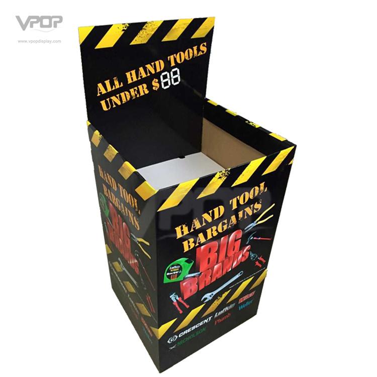 Square Cardboard Dump Bin for Hand Tool Holding 100kgs