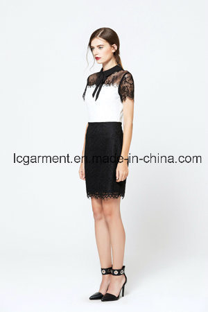 Fashion Short Sleeve Black Lace Office Latest Lady Dress Designs