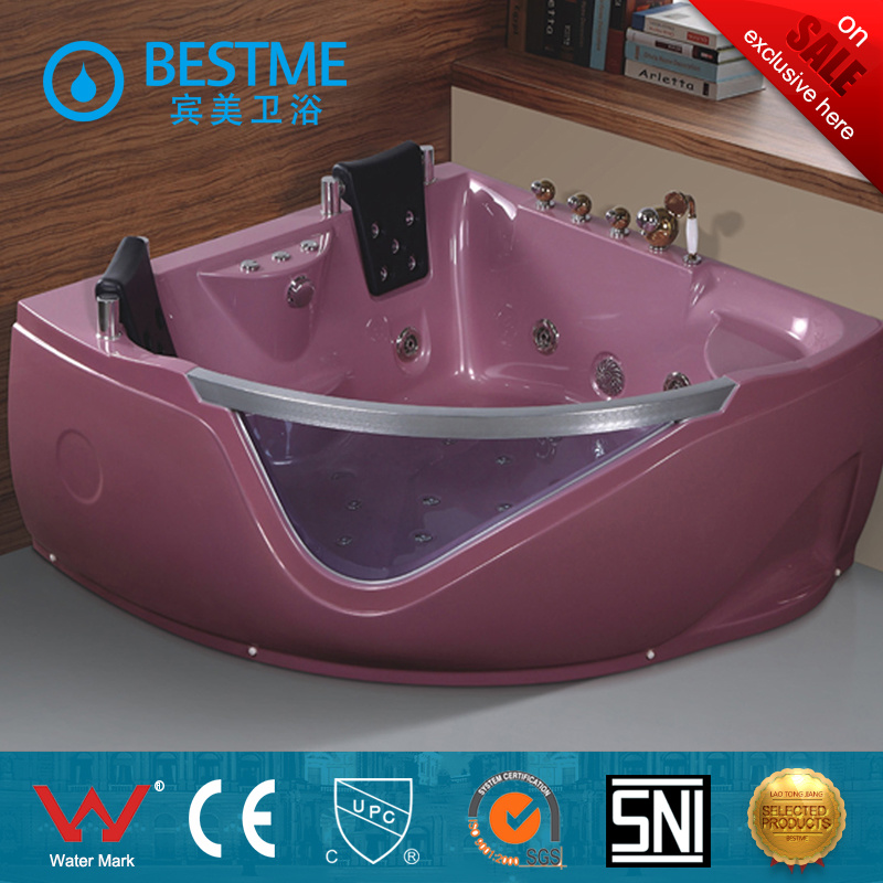 Top Selling Crystal Pink Color Indoor Massage Bathtub (BT-A324)