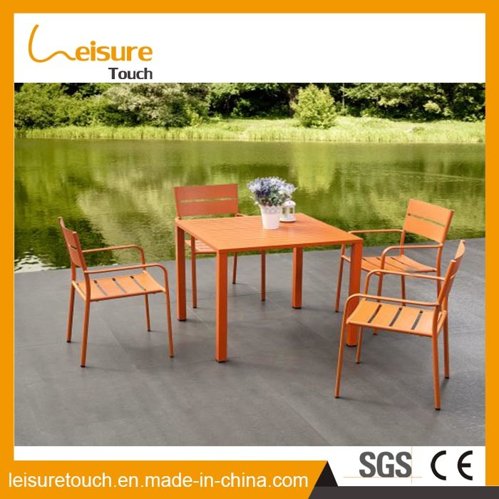 Durable Easy Installation Powder Coating Aluminum Table Set Patio Table and Chairs in Vigorous Orange Cast Garden Outdoor Furniture