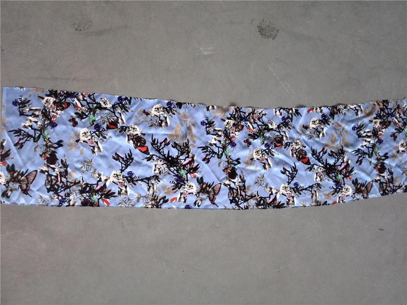 19m/M Silk Satin Print in Flowers Birds Design