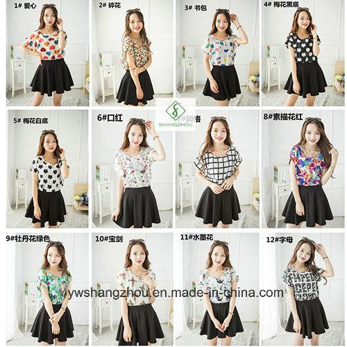 Fashion Cheaper Lady Chiffon Blouse Women T-Shirts Factory Gift
