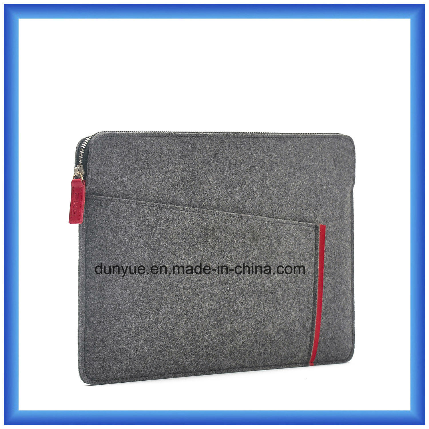 New Fashion Eco-Friendly Material of 70% Content Wool Felt Laptop Briefcase Bag, Custom Portable Soft Laptop Bag with Zipper