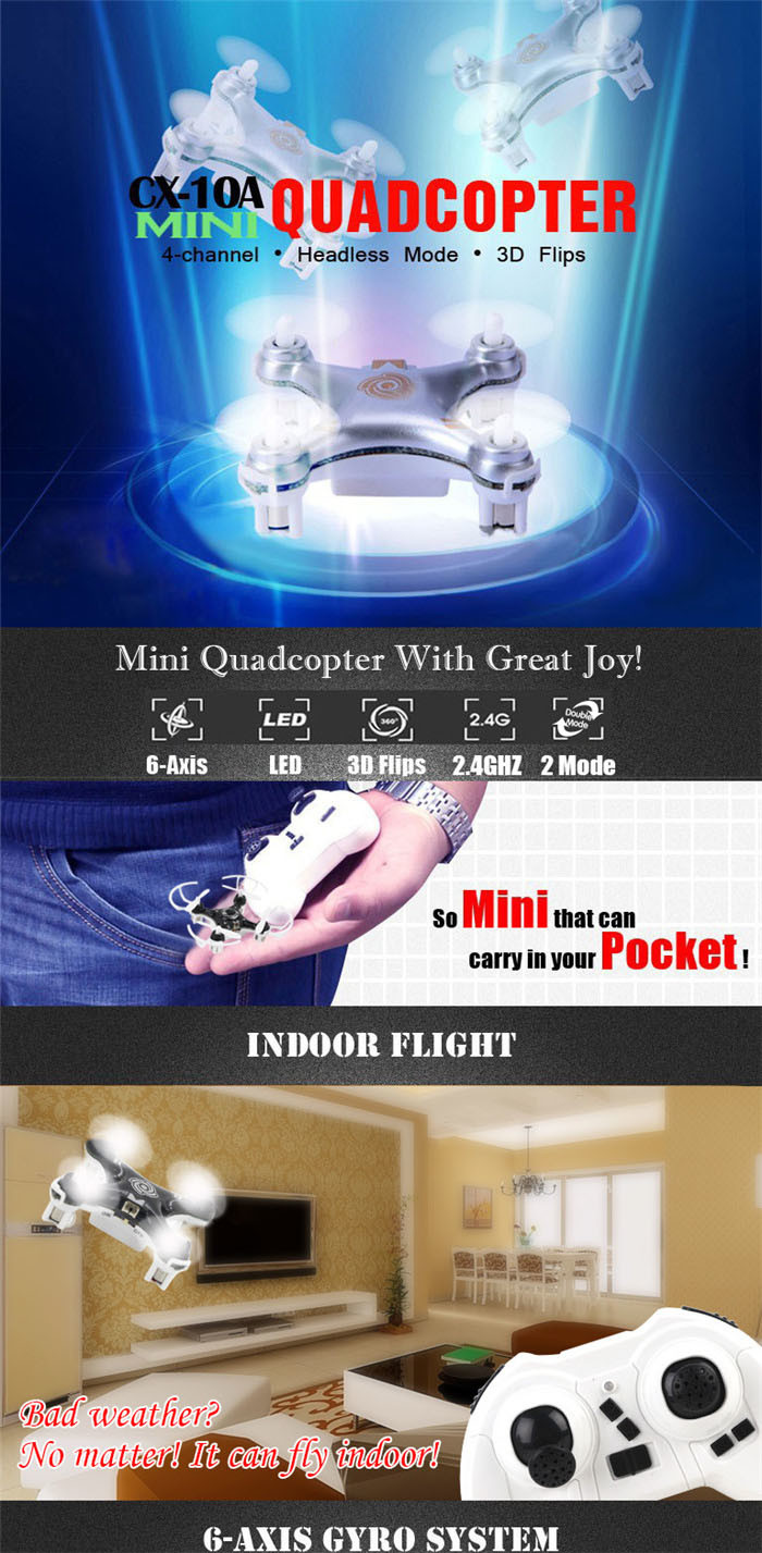 World′s Smallest Drone with Headless Mode 4cm Nano Drone RC Quadcopter Mini Drone Cherrson Cx-10A 10231046
