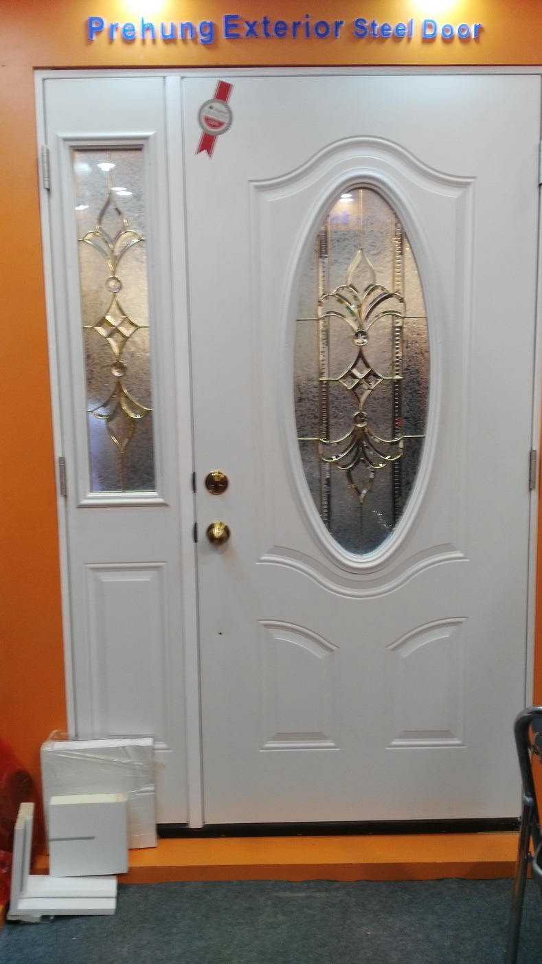 Decorative Small Oval Tempered Glass Insert Steel Door