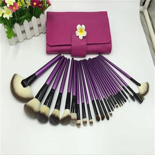 24 PCS Romatic Purple Cosmetic Makeup Brushes