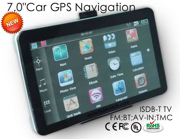 "Hot 7.0""Car GPS Navigator with FM, Bt, ISDB-T TV, Tmc, AV-in"