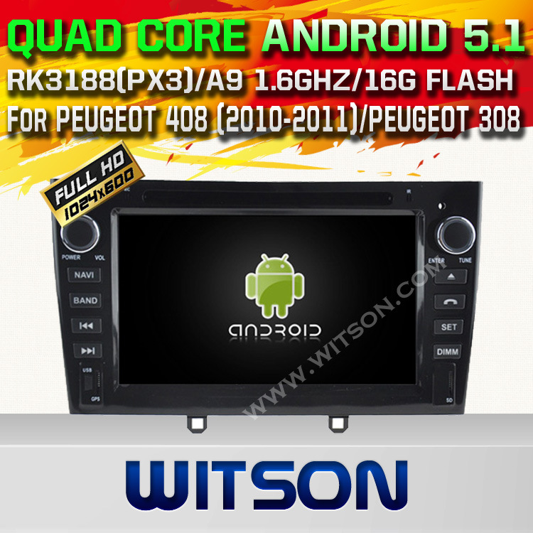 Witson Android 5.1 Car DVD GPS for Peugeot 408 (2010-2011) /Peugeot 308 with Chipset 1080P 16g ROM WiFi 3G Internet DVR Support (A5634)