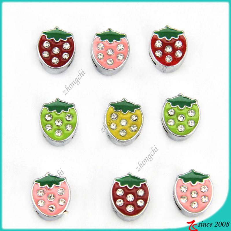 Cute Strawberry Fruit Slide Charms for Fashion Decoration (SC16040946)