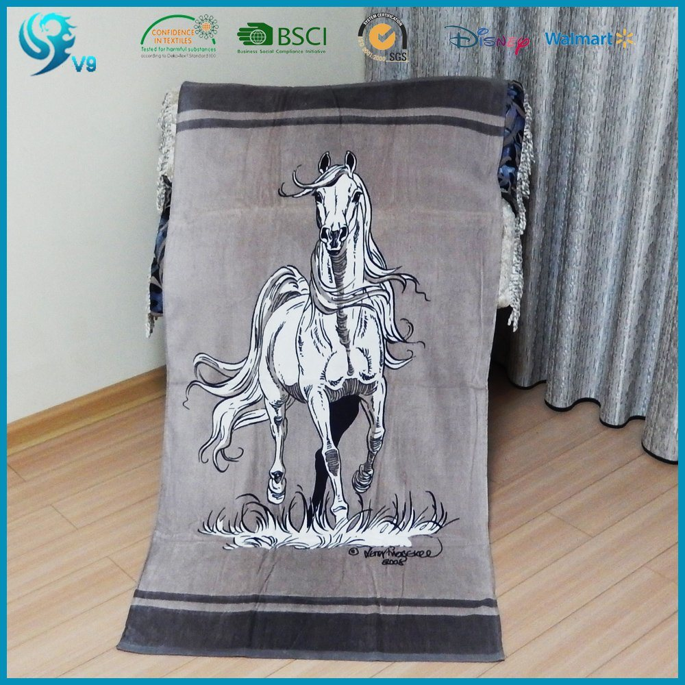 100% Cotton Reactive Printing Customized Velour Beach Towel