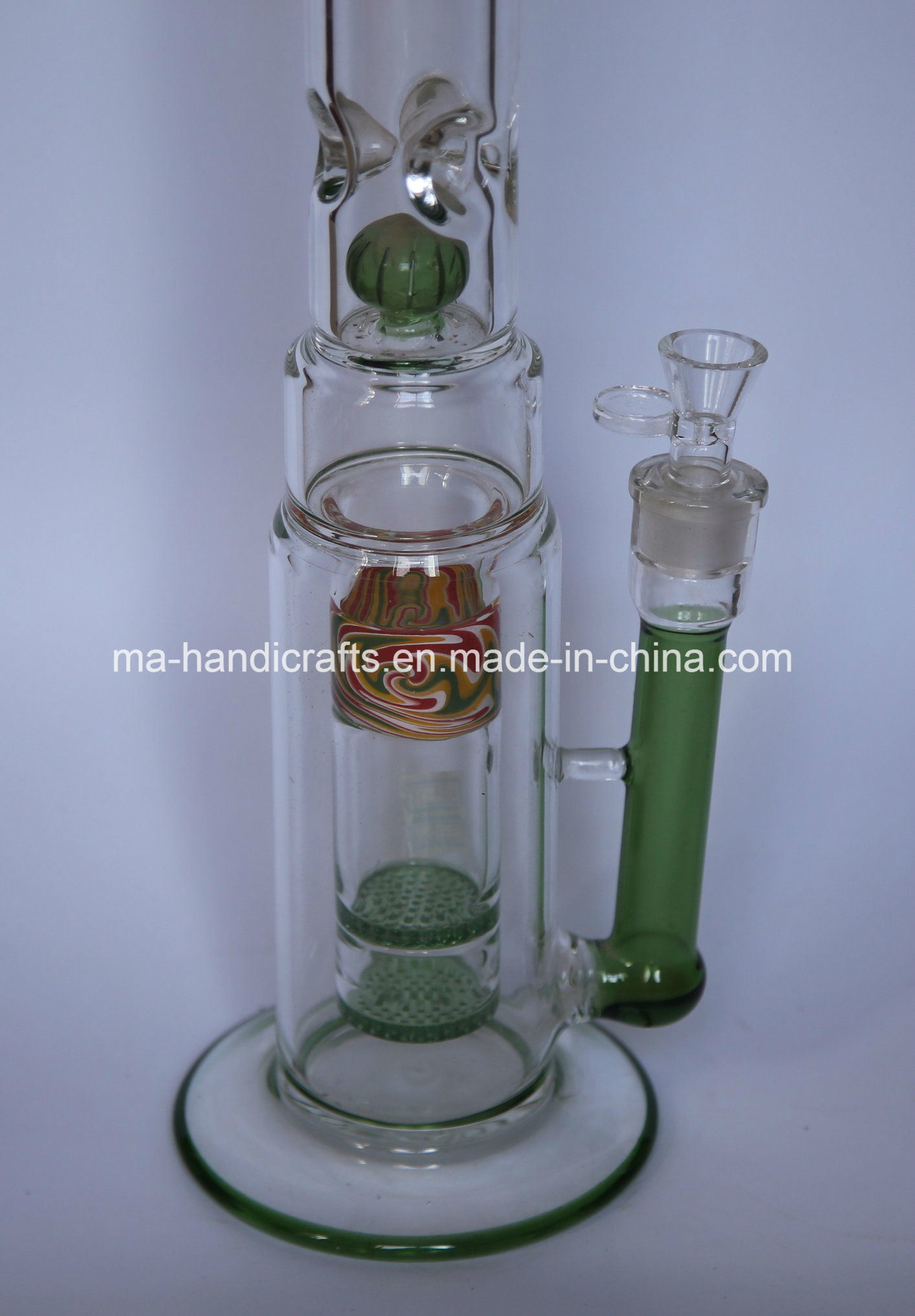 """17"""" Colorful Smoking Water Pipes with Double Fritted Disc Perc"""
