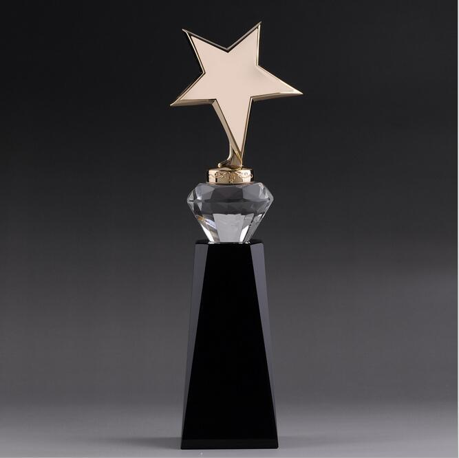 Gloden K9 Crystal Glass Trophy for Souvenir