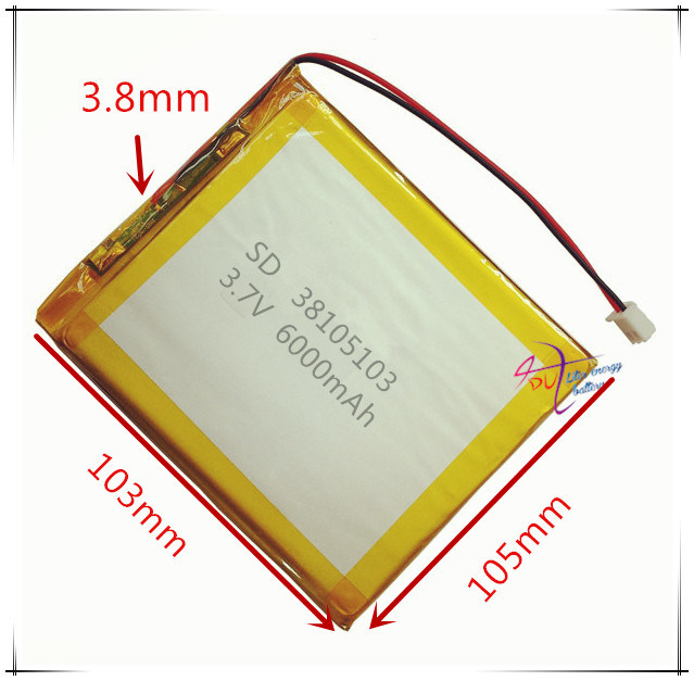 6000mAh 3.7V 38105103 Polymer Lithium Battery Backup Power
