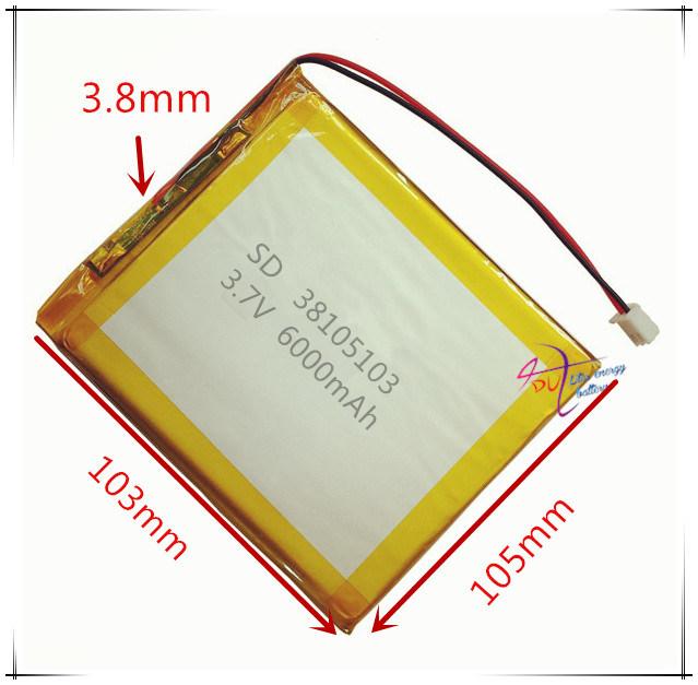 Xhr-2p 2.54 6000mAh 3.7V 38105103 Polymer Lithium Battery Backup Power Supply
