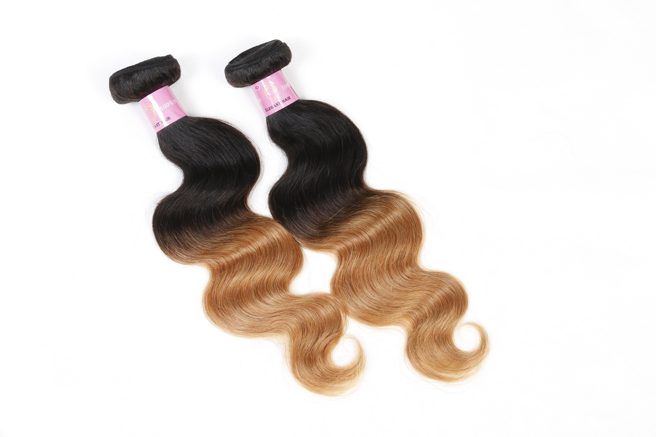 Ombre Color Human Hair Peruvian Virgin Hair Body Wave 18inches