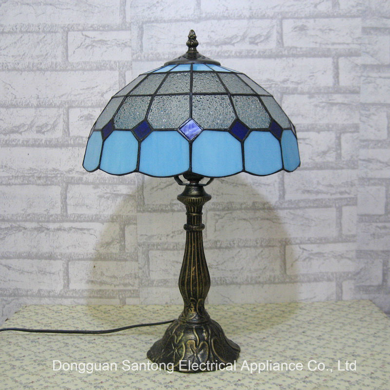 8 Inch Stained Glass Table Lamp Decorative Tiffany Table Light Indoor Lighting Fixture Antique Bronze LED Bulb