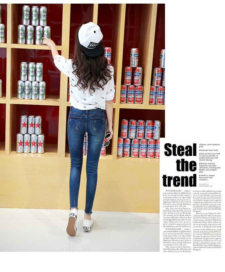 2017 Lady′ S Skinny Fit High Quality Washed Cotton Stretchable Jeans