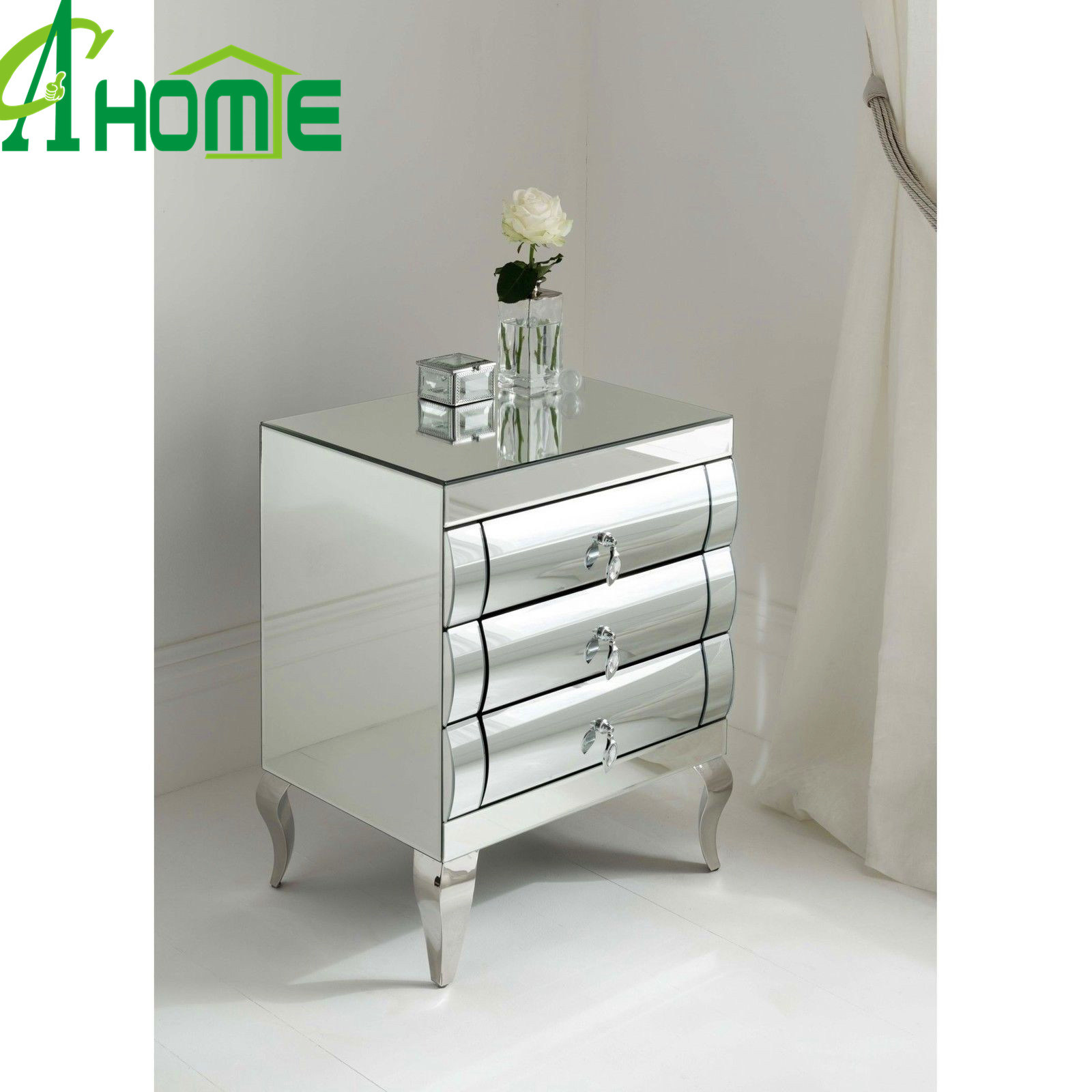 Cheap Simple Mirror Table Furniture Bent Mirror Nightstand