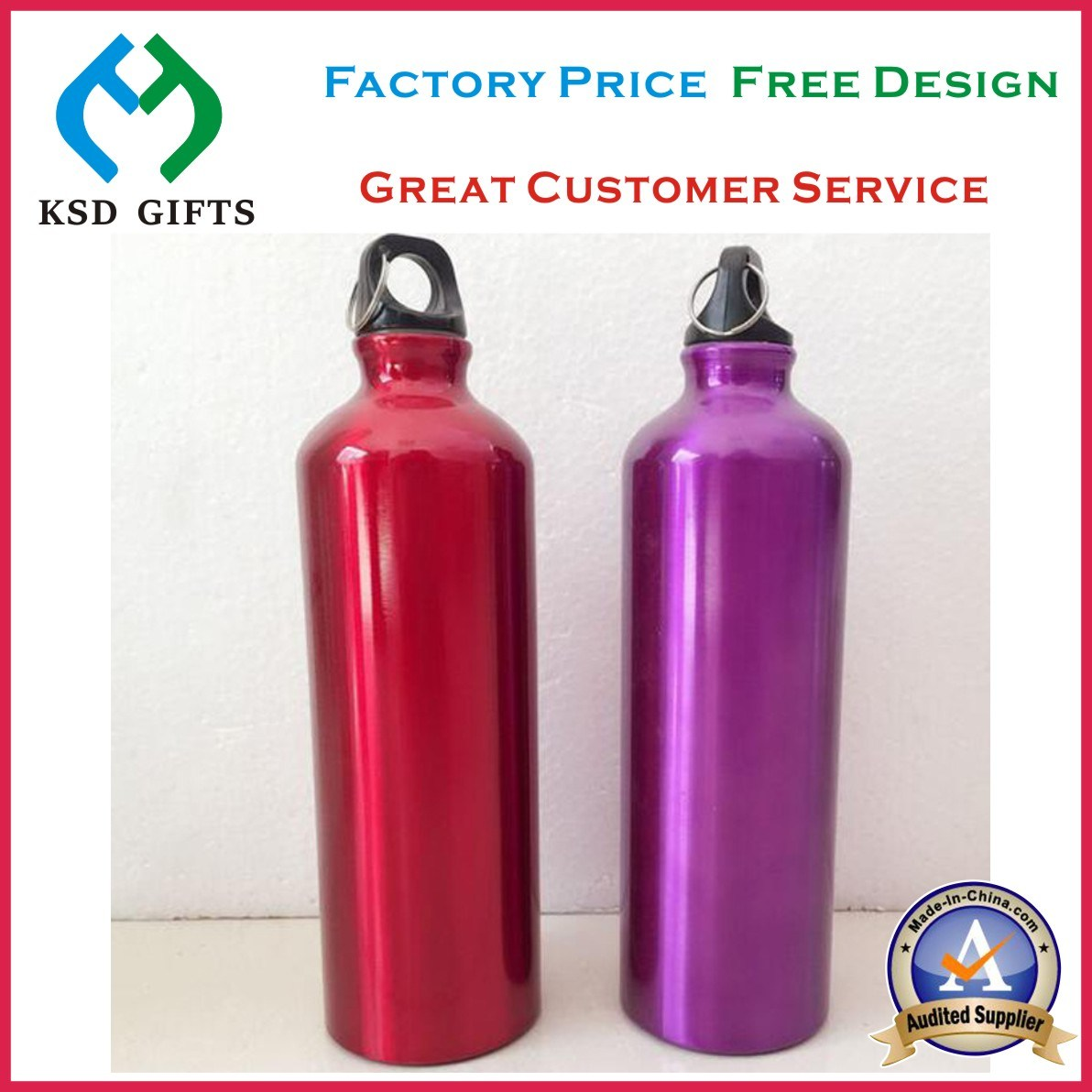 Promotional Logo Printed Cheap Wholesale Aluminum Water Bottles