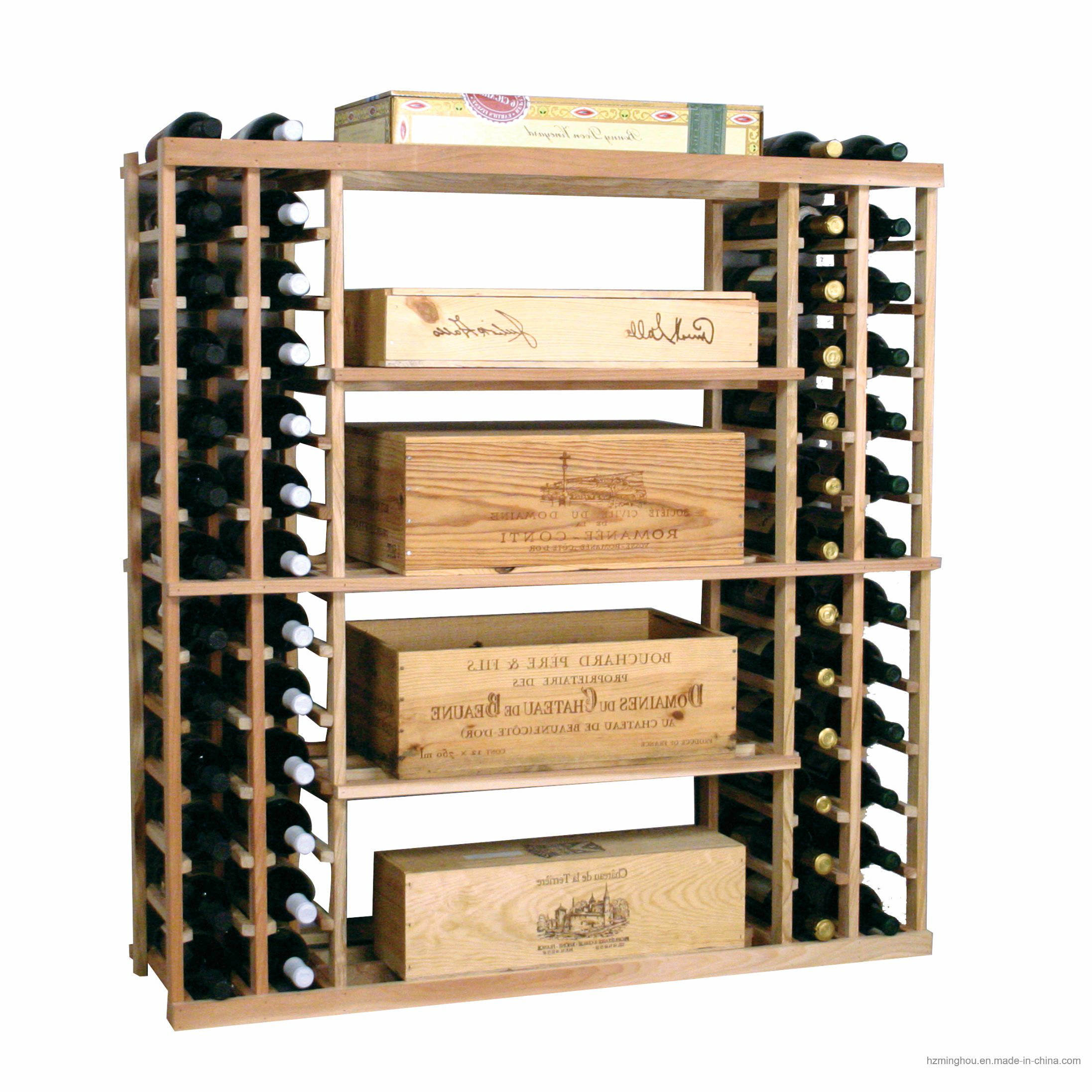 Customize Roll-out Bins Wood Storage display Wine Cellar Rack System