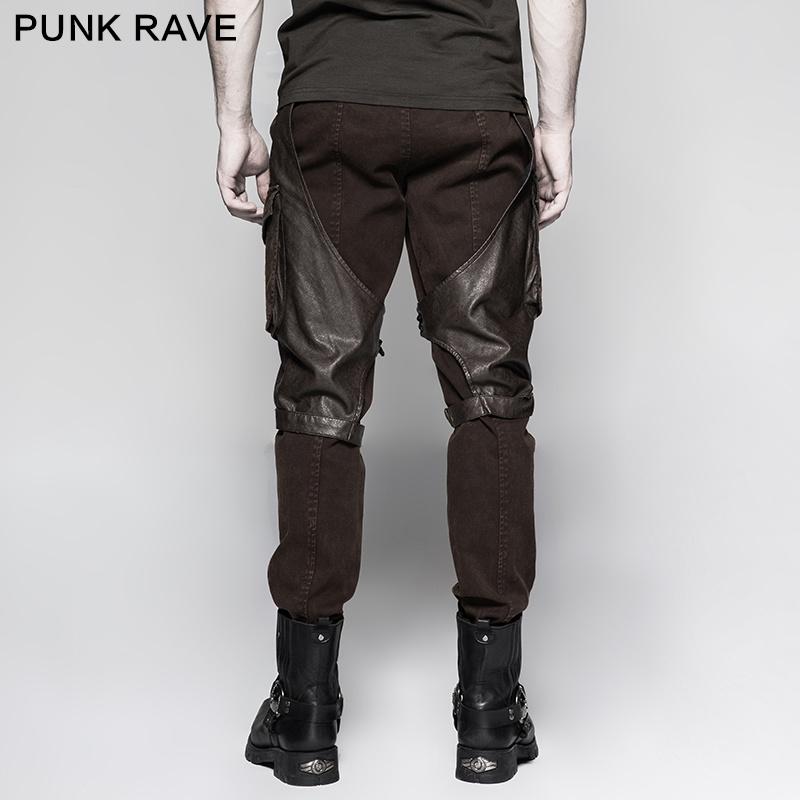Steampunk Coffee Men′s Cargo Pants Big Pockets Metallic Jeans (K-284)