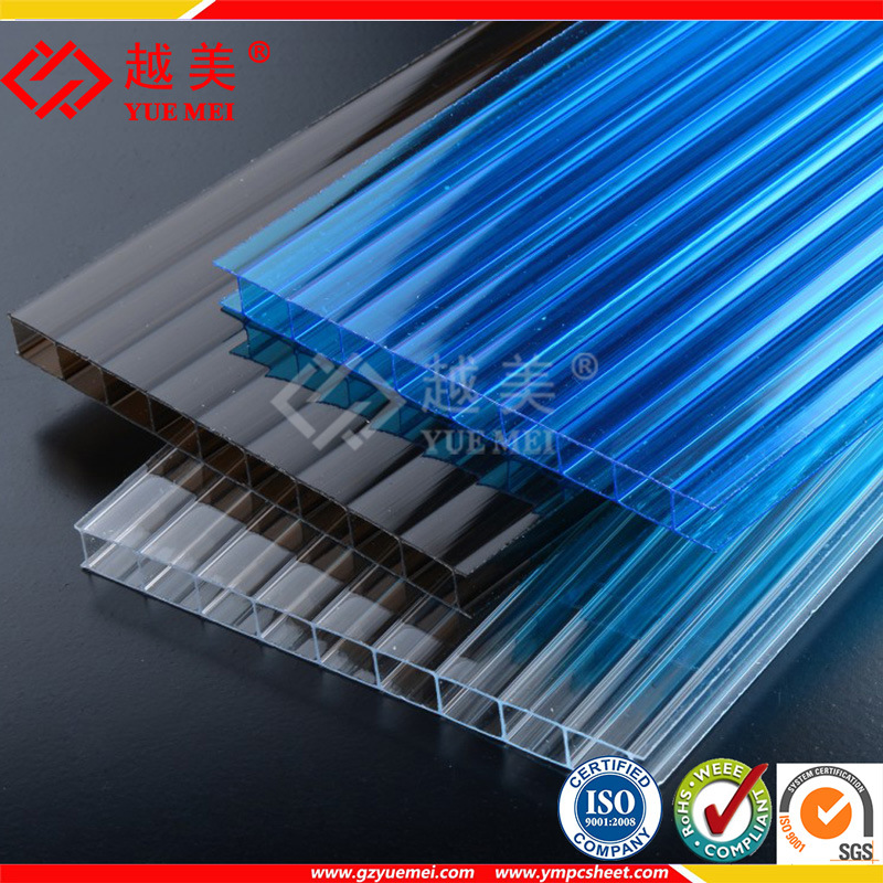 100% Virgin Material Polycarbonate Twin-Wall Hollow Greenhouse Roofing Sheet