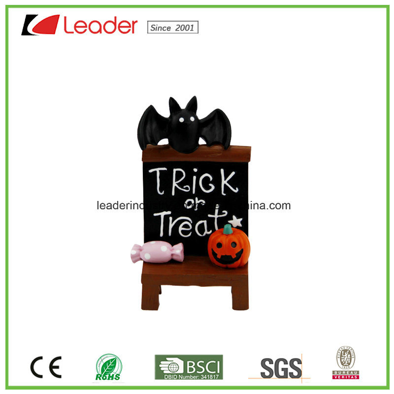 Hand Painted Polyresin Decorative Chair with Pumpkin Bat for Halloween Decoration
