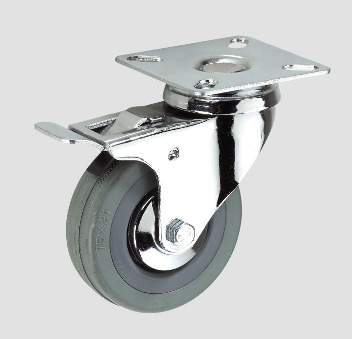 Gray Rubber Flat Industry Caster with Whole Brake