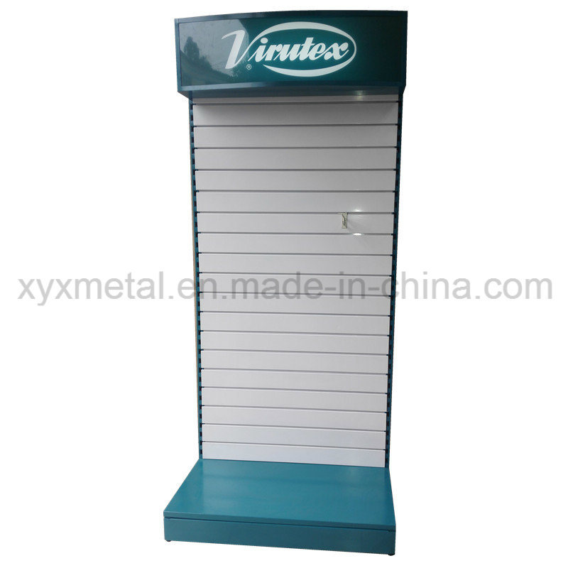 Customized Metal Slat Wall Board Slatwall Tools Exhibition Display Rack with Lighting