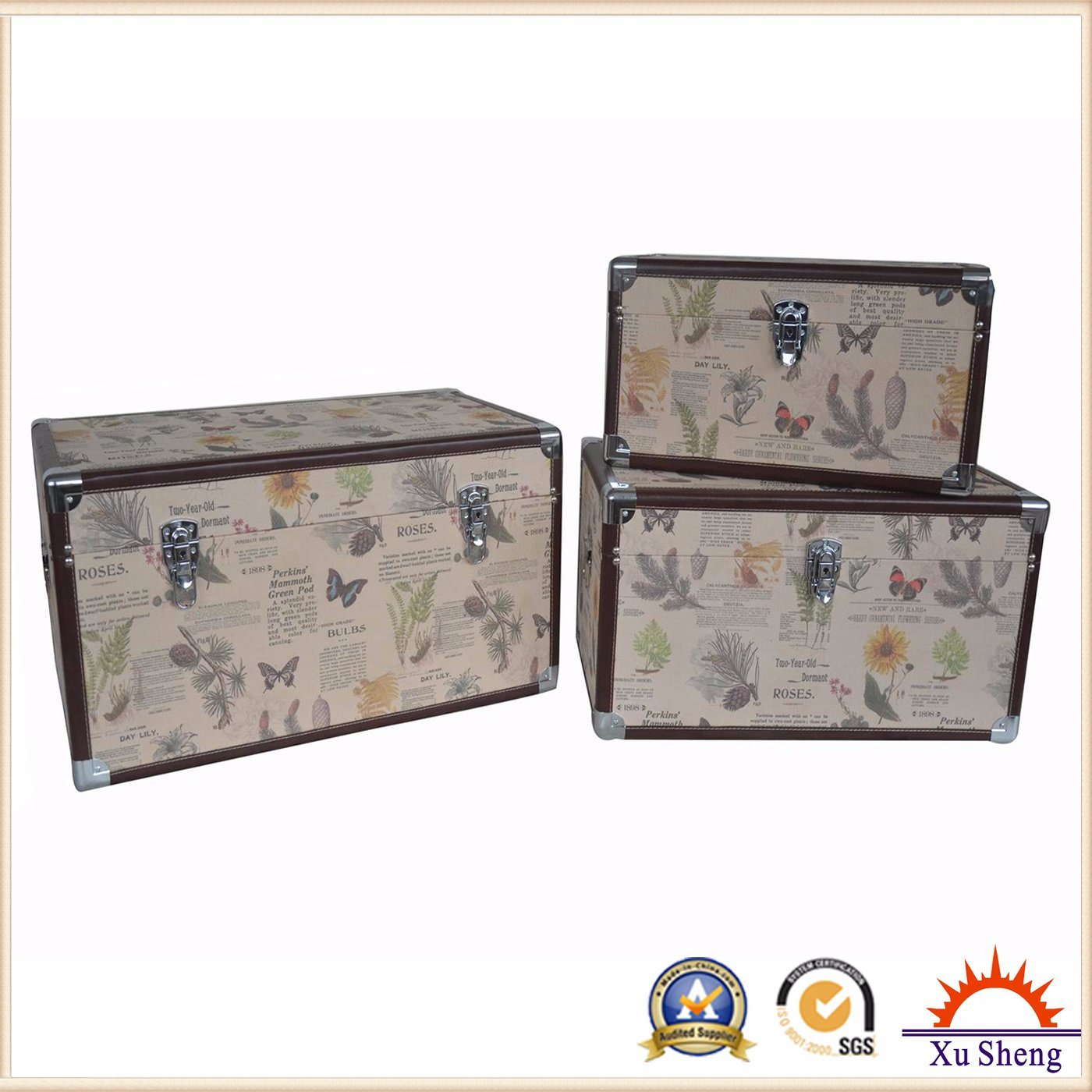 Antique Furniture Spring Fabric Print Tufted Wooden Storage Ottoman Chest Trunk