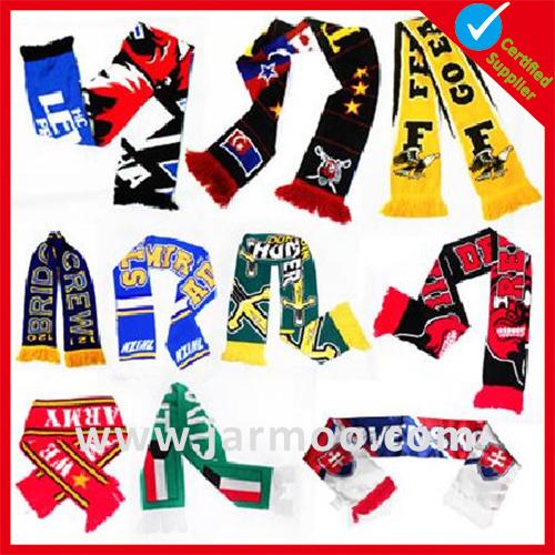 Custom Acrylic Knitted Winter Warm Football Soccer Fan Scarf