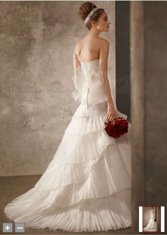 2011 Satin Faced Organza Fit and Flare Gown Wedding Dress ETT019